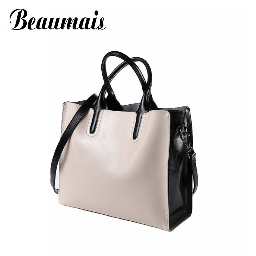 Beaumais Patchwork Color Large Tote Bag Real Handbags Genuine Leather Bag Women Shoulder Bags American And European Style BG608 2017 autumn european and american fashion women s handbags high end atmosphere banquet tote bag dhl speedy shipping