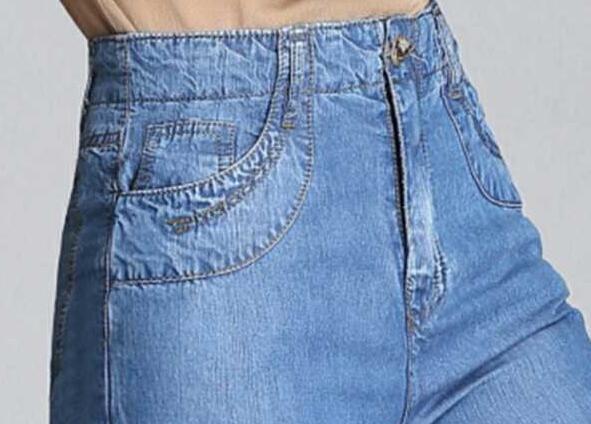 Allentati Della Modo Più Dei A Zzq0901 Molla Piedino Nuovo Jeans Casuale Capris Femminili Alta Autunno Formato Donne Le Pantaloni Di Blu Per Del Il Vita Larghi Tencel Rw4Ywqa8