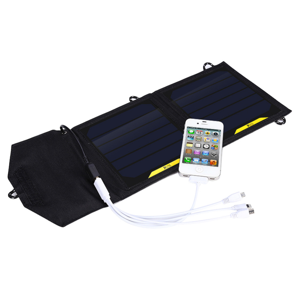 Foldable Camping 5V 7W Solar Panel Power Outdoor Power Cell Charger for iPhone 6s 6 Plus for Smartphones Digital Camera GPS