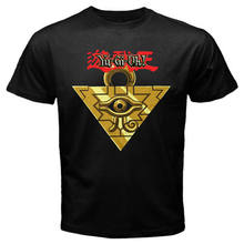 New YU GI OH Millenium Puzzle Anime Manga Cartoon Men's Black T-Shirt Size S-3XL summer o neck tee, free shipping cheap tee(China)