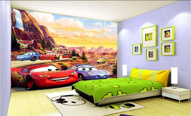 3d wall murals wallpaper for kids room Cars cute childrens room