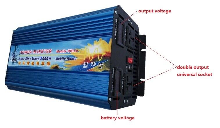 цена на free shipping dual digital display 3KW 3000W DC12V to AC120V 60HZ Pure Sine Wave Inverter