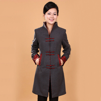 New Gray Winter Women S Cashmere Overcoat Jacket Long Slim Coat Mandarin Collar Single Breasted Size