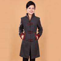 New Gray Winter Women S Cashmere Overcoat Jacket Long Slim Coat Mandarin Collar Single Breasted Size