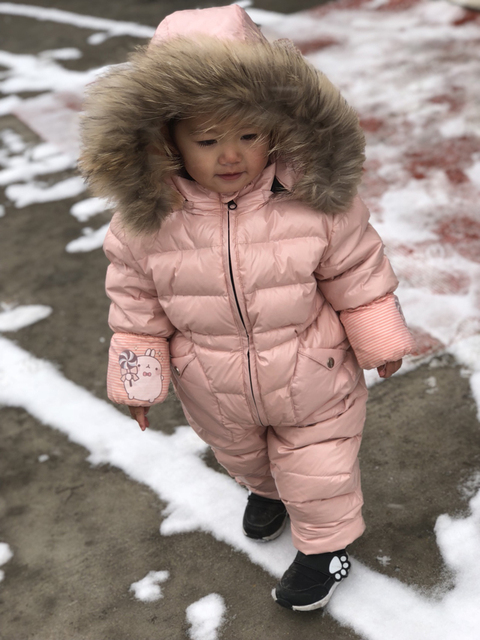 Russia Winter Kids Girls Boys Snowsuit Jumpsuit Baby White Duck Down Jackets Overall Children Real Raccoon Fur Hooded Rompers Y8