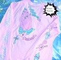 2016 японский harajuku каваи милый старинный молитвы и Пресвятой Девы мария розовый футболка большой размер с длинным рукавом лучшие друзья т рубашка