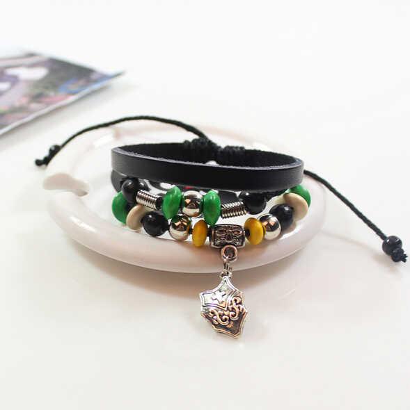 Punk Retro Shield Design Multi-Layer Leather Bracelet Women Men Jewelry, Black Balls Christian Bracelets Mens Pulseras Hombre
