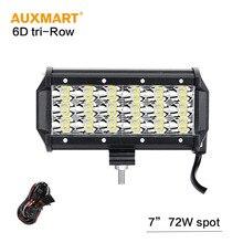 Auxmart  7inch 72w 6D Tri-Row LED Light Bar Offroad Spot Beam Work Light For 4×4 4WD SUV ATV RZV Trailer Truck 12v 24v LED Bar