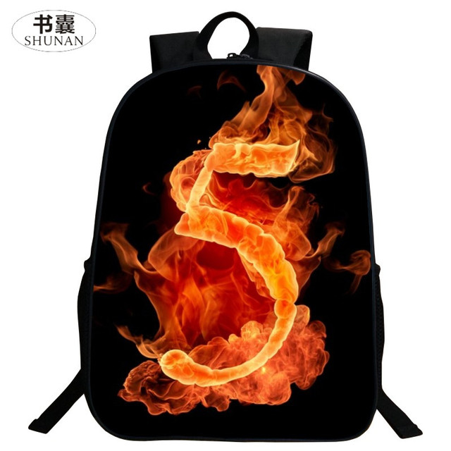 SHUNAN Brand Oxford Cool 16 Inch Printing Pet Flame Number 5 Kids Baby Book Bag Children School Bags for Teenage Girls Backpack