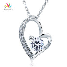 Pavo real Sólida Estrella de 925 Bodas de Plata Colgante de Corazón Collar de Diamantes Creado Joyería de Dama de honor CFN8033