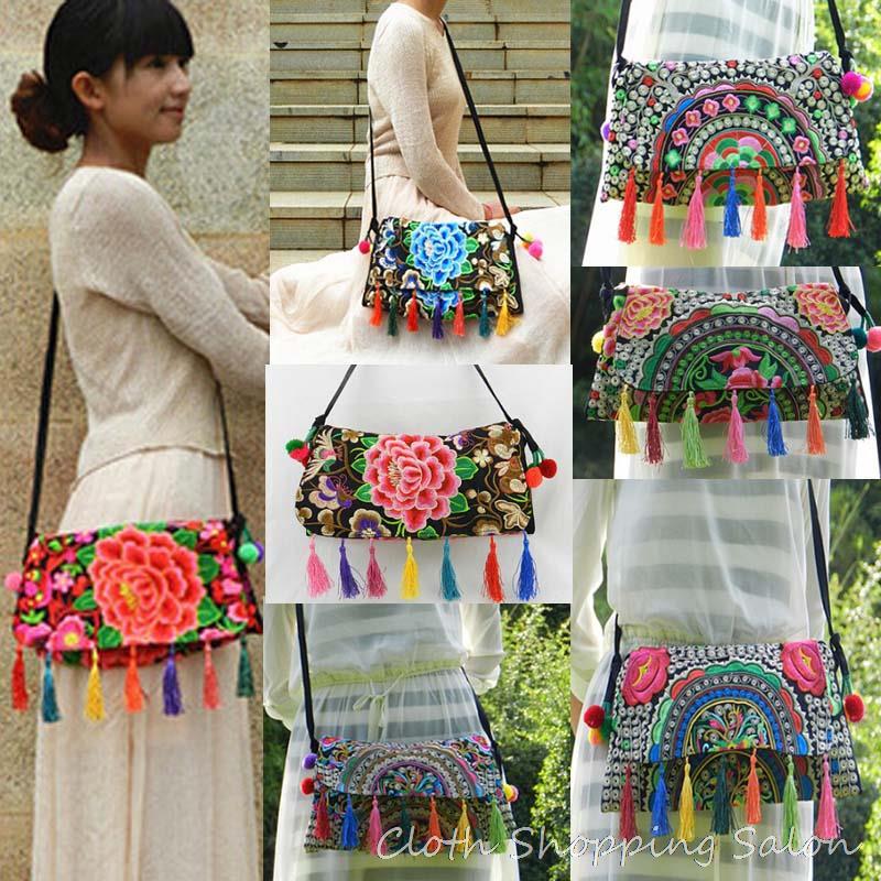 National Embroidery Bags Double Face Flower Embroidered Vintage Tassel Shoulder Messenger Bag Ethnic Women Cover Cltuch Handbags цена 2017