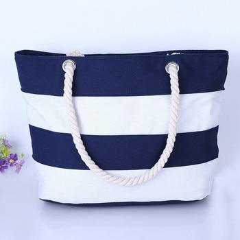 2018 New Arrival Casual Women Handbag Summer Beach Women Bag Lunch bag Hot Sale Fashion Canvas Striped Handbags Shoulder Bag