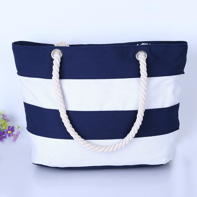 2018 New Arrival Casual Women Handbag Summer Beach Women Bag Lunch bag Hot Sale Fashion Canvas Striped Handbags Shoulder Bag
