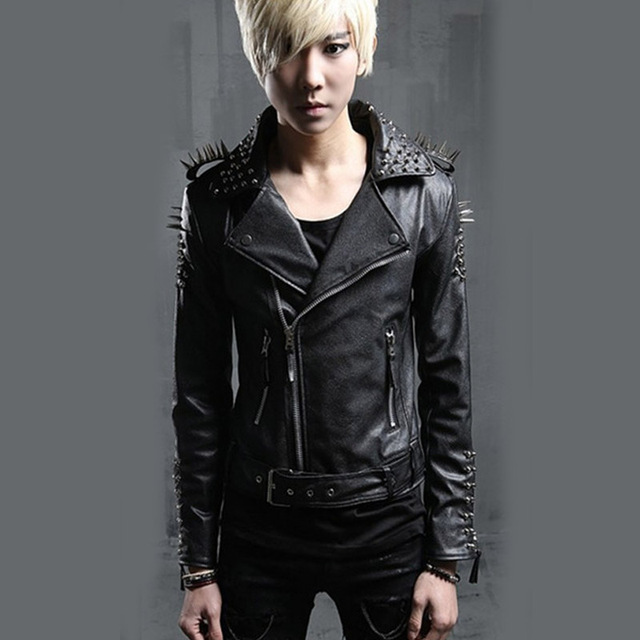 Men Leather Jacket PU Men Rivets Punk Rock Stage Costume Street Fashion Slim Fit Overcoat Locomotive Jackets Coats U03
