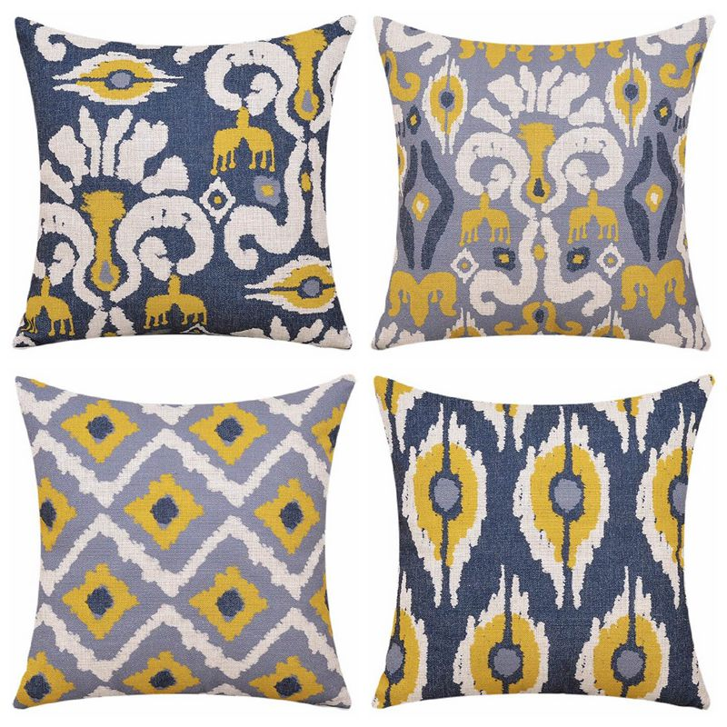 Cuscini Ikat.Blue And Yellow Ethnic Cushion Cover Elegant Decorative Home