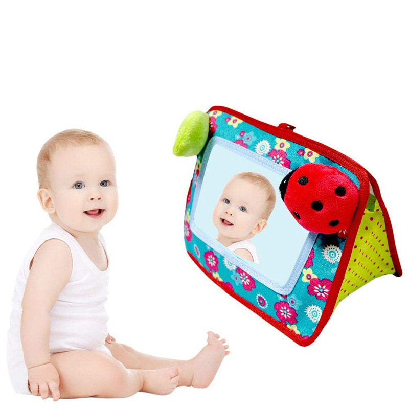 Baby Mirror Toy Stuffed Plush Baby Rattles Toddler Car Seat Mirror Infant Stroller Hanging Newborn Educational Toy