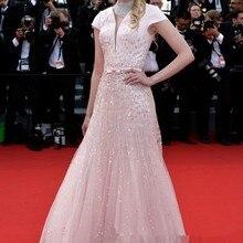 68th Cannes кинофестиваль для красной дорожки, популярное платье Таня Dziahileva Розовые аппликации блёстками длинное вечернее платье