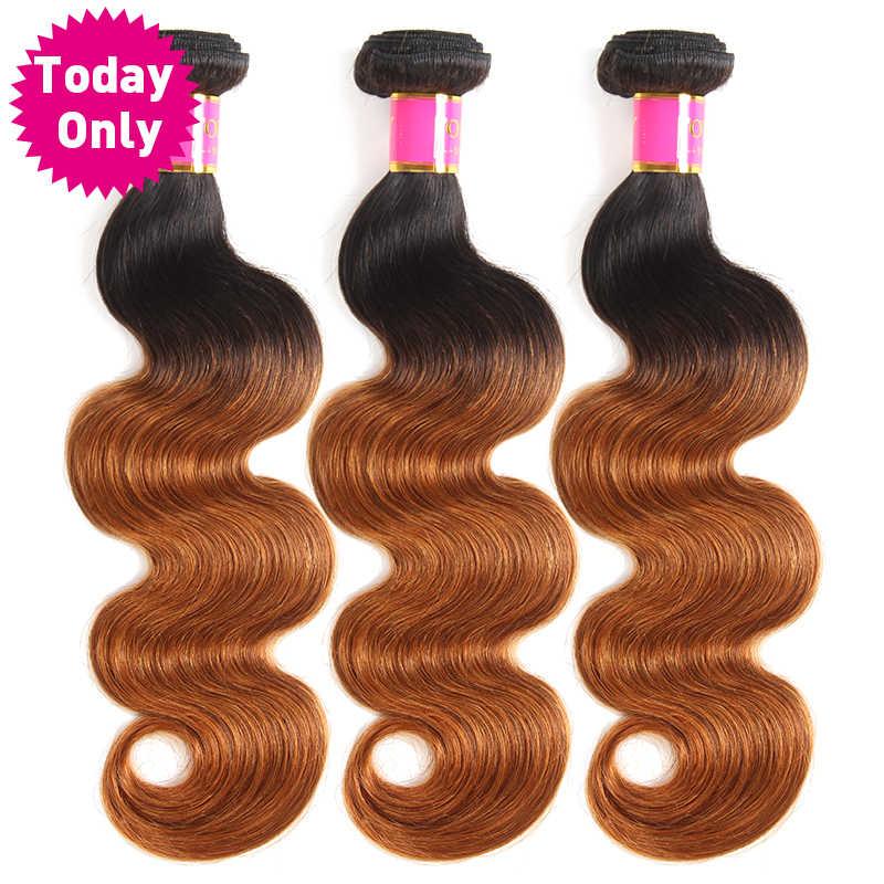 Сегодня только 1/3/4bundles Бразильский объемная волна пучки Ombre Пучки Волос бразильский плетение волос Связки Реми Пряди человеческих волос для наращивания
