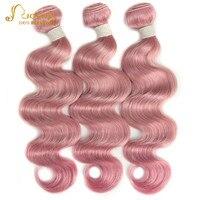 Joedir бразильского Виргинские волос объемной волны 100% натуральные волосы Weave Связки Розовый и красный цвет Цвет розовое золото розовый цвет в