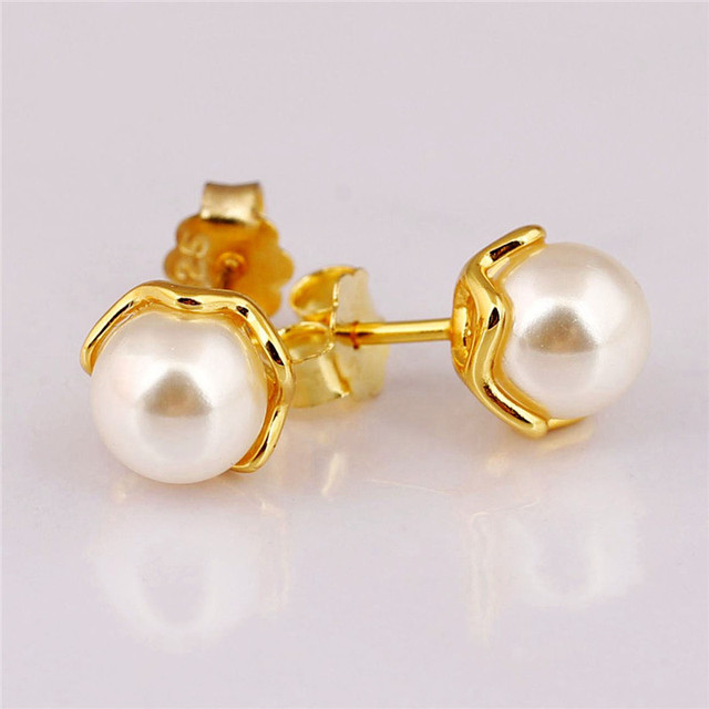New Fashion 100 925 Sterling Silver Pandora Earrings For Women Pure Pearl Shine Gold Stud