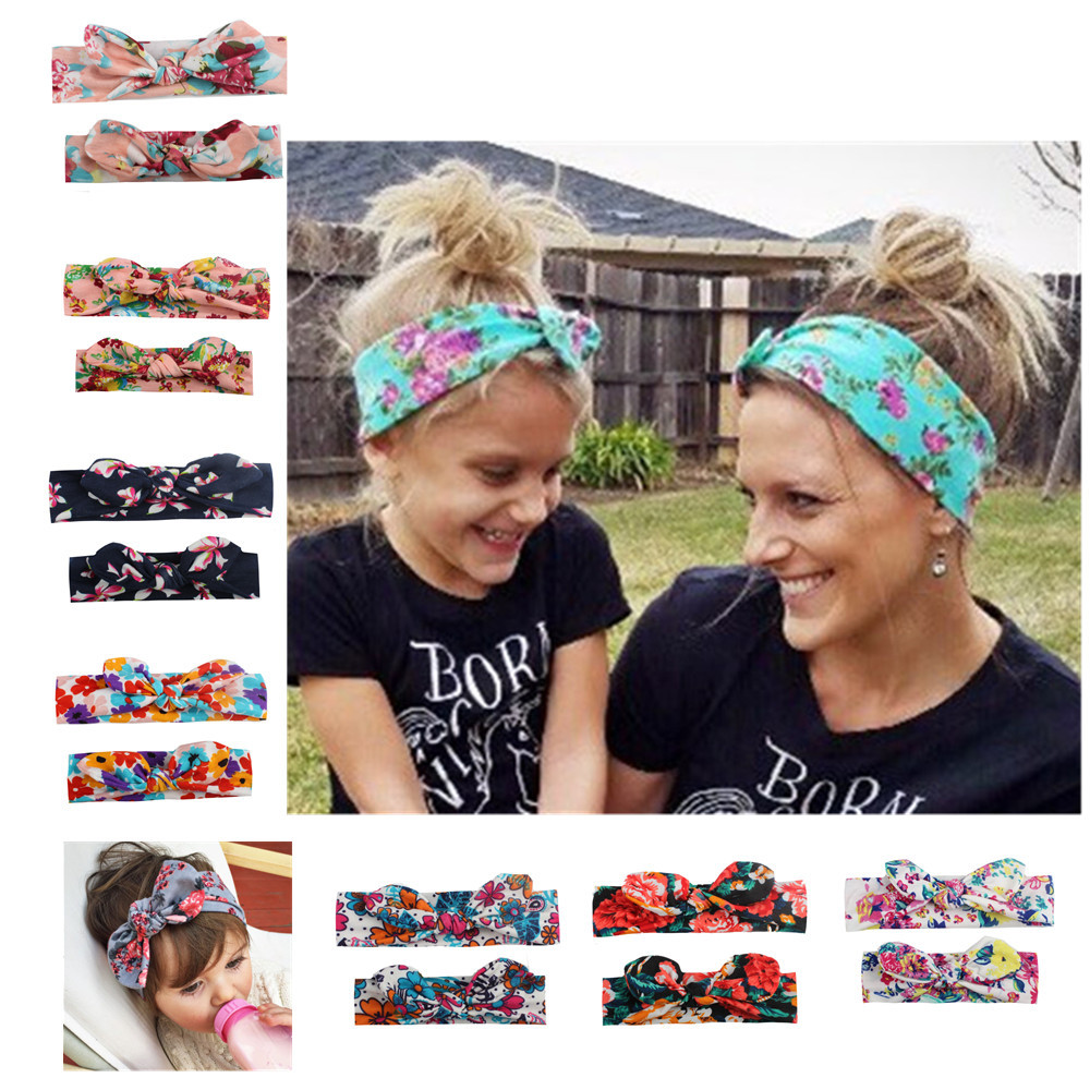 New Mother & Daughter Hair Accessories 2pcs/set Bow Knot Rabbit Elastic Printing Headband Parent-Child Family Colorful Headwear
