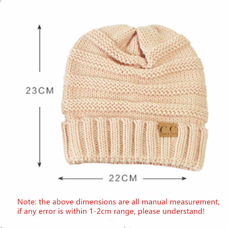 5c0fff3542c ... 13 colors Unisex Winter Knitted Wool Cap Women Men Folds Casual CC  labeling Beanies Hat Solid ...