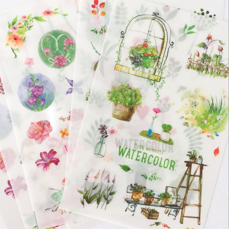 6 Sheets Spring Green Adhesive Stickers Decorative Album Diary Stick Label Hand Account Decor Stationery