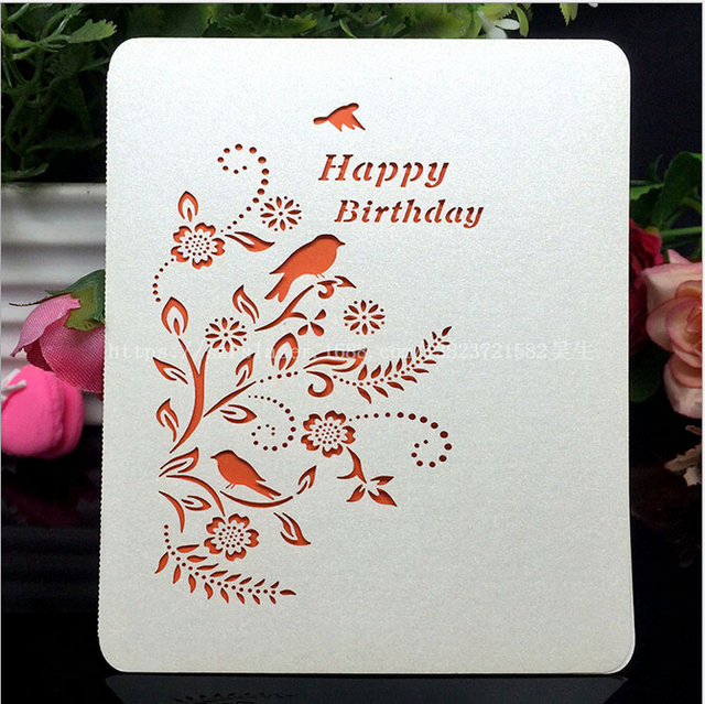 Laser Cut Bird Happy Birthday Party Invitation Cards Beige Greeting