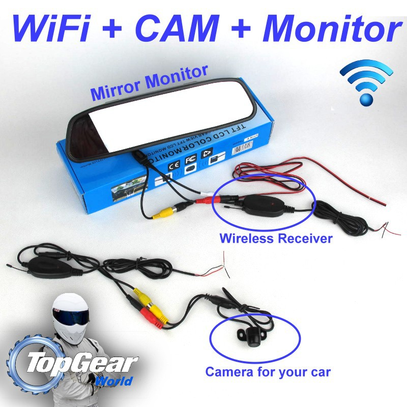 Rear View Car Camera + Wireless Receiver + Mirror Monitor Easy DIY Parking System For Volkswagen VW Passat B5 Magotan        6