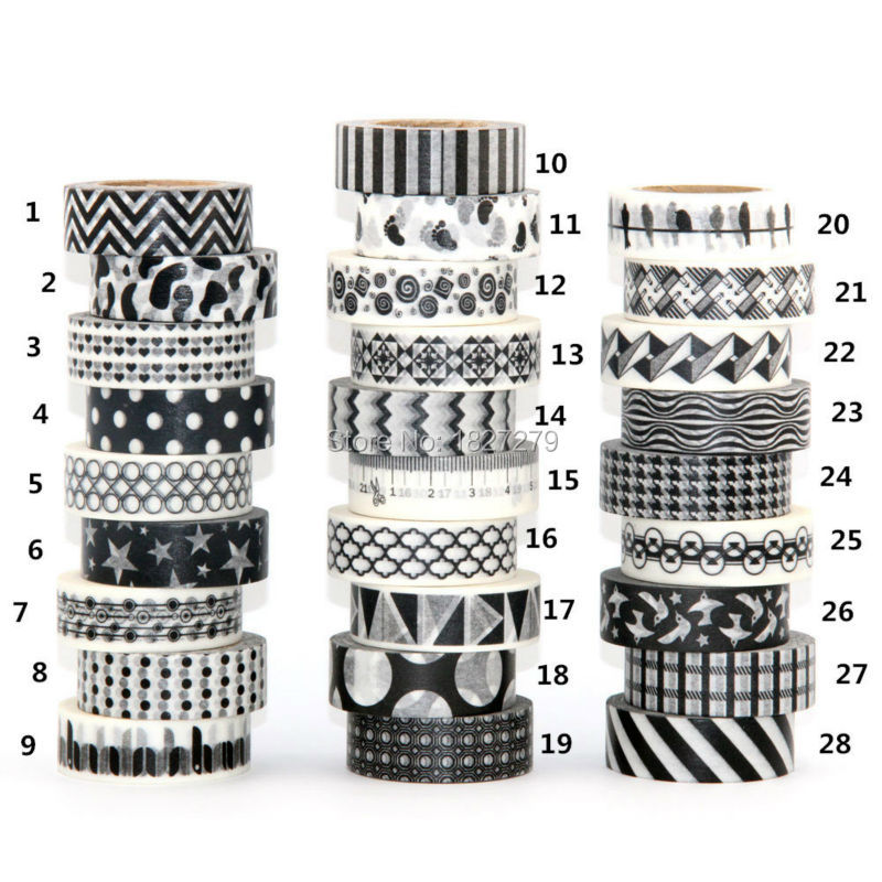 1X 15mm Tape Black White set Dot,Flower,Star Print Scrapbooking DIY Sticker Decorative Masking Japanese Washi Tape Paper 0m