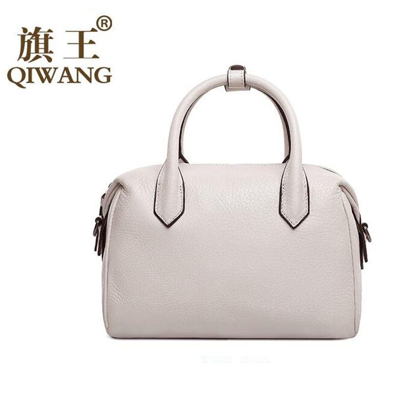 QIWANG Women bag 2016 new genuine leather bag fashion elegant boston bag quality women leather font