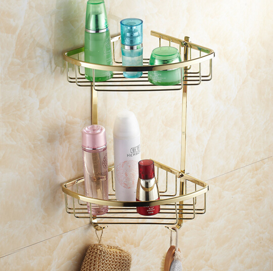 Top quality brass gold double tiers bathroom Corner shelves with robe hook basket holder bathroom soap holder bath shampoo shelf top quality brass antique bronze double tiers bathroom shelves basket holder bathroom soap holder bathroom shampoo shelf