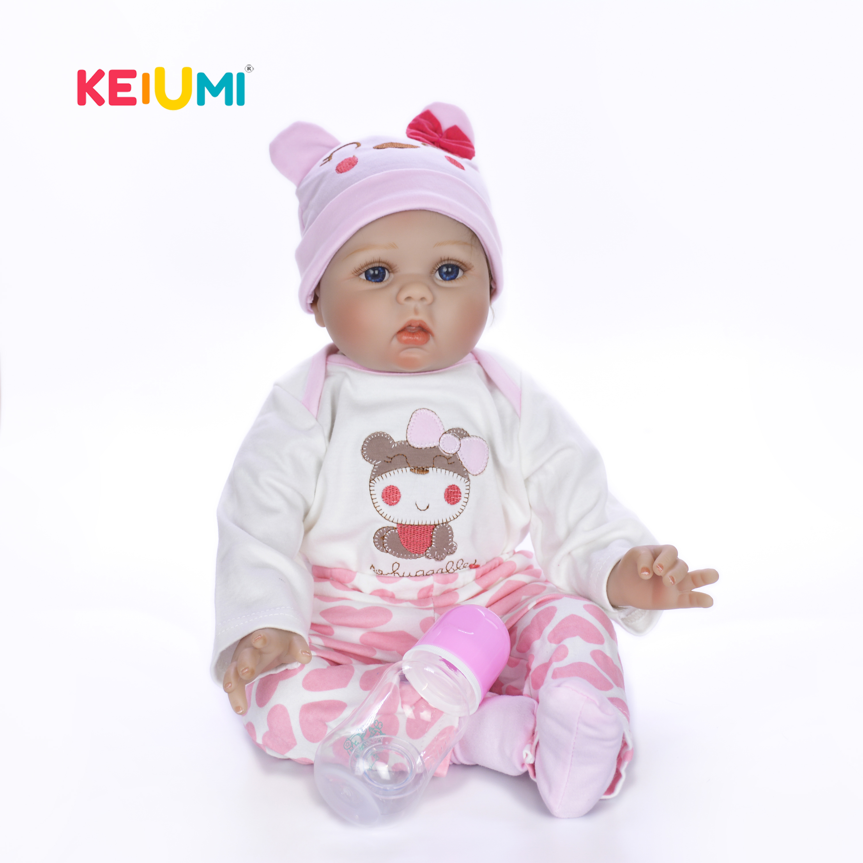 Reborn Baby Doll Soft Silicone Girl Toy 22in 55cm Pink Head Dress Lifelike