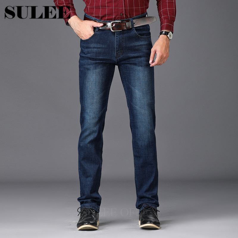 Men Jeans Casual Denim Pants Classic Whiskering Straight Jeans Masculina Male Denim Trousers Cotton Jeans Smart Casual