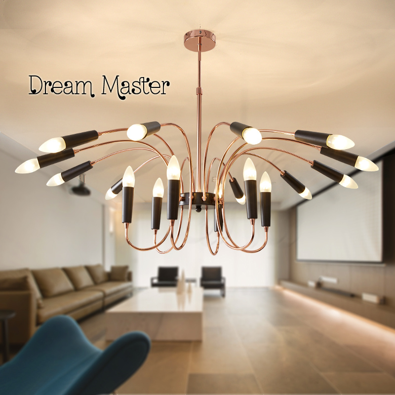 Nordic modern minimalist living room iron american duplex for Moderne led deckenlampen