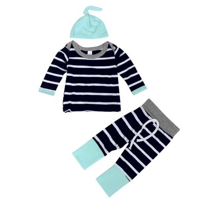 Winter 3PCS Kids Clothes Boys Toddler Kids Baby Boys Girls Stripe Long Sleeve Tops+Long Pant+Hat Set Clothes Kids Sets JY10#F 2018 girls clothes sets long sleeve patchwork outfits kids tops