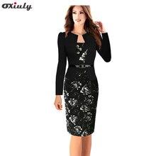 Oxiuly Plus Size 4XL Women Formal Faux Twinset Belted Tartan Floral Lace Plaid Office Wear Work