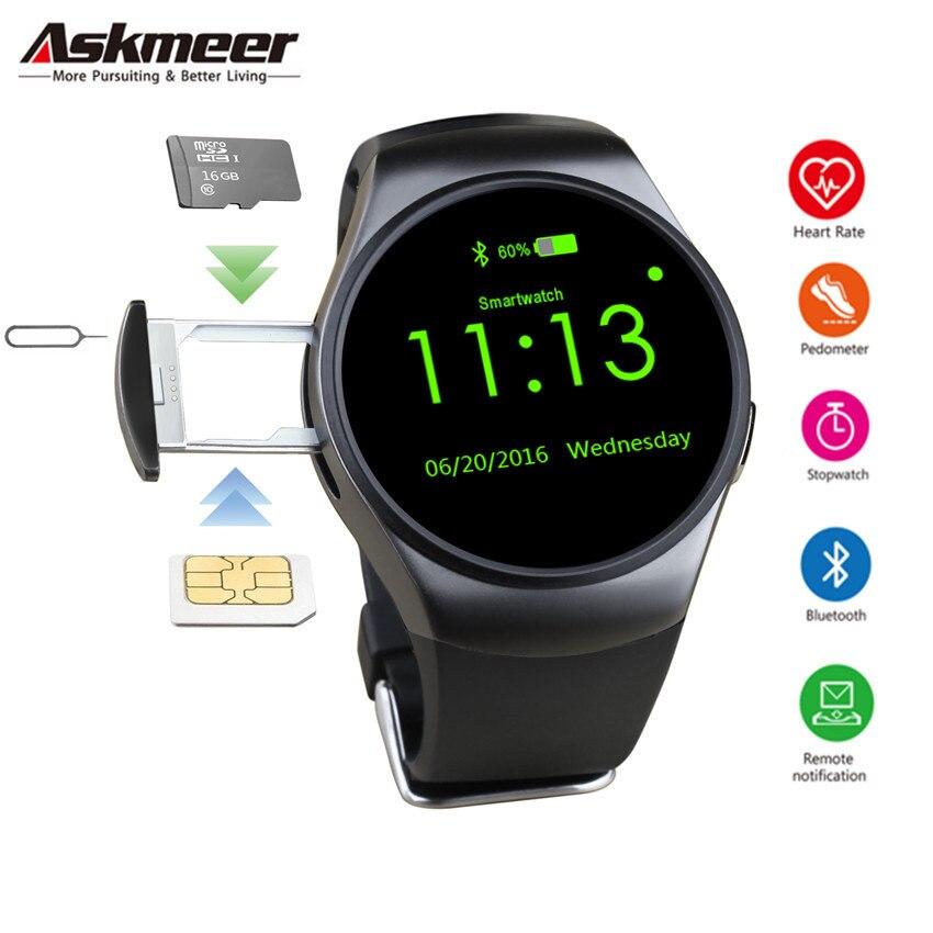 ASKMEER KW18 montre intelligente hommes Support SIM TF carte Bluetooth appel fréquence cardiaque podomètre Sport Hombre Smartwatch pour Android IOS