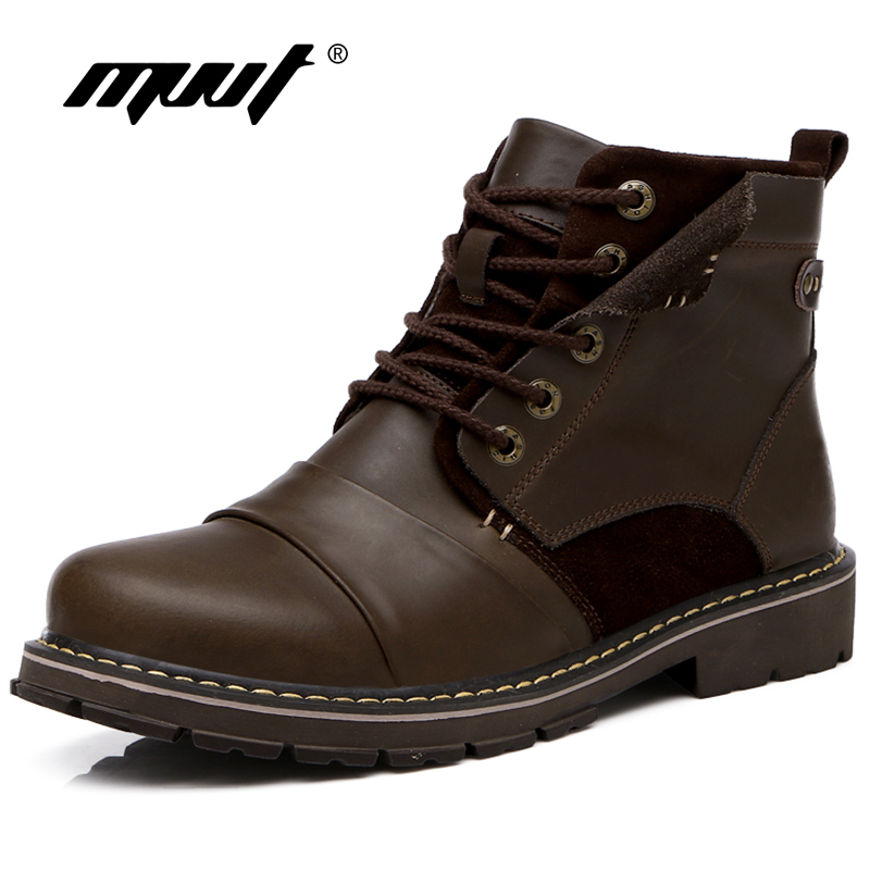 MVVT Genuine Leather Boots Men Winter Snow Boots Super Quality Western Cowboy Boots Wear-Resisting Safety & Work Boots free shipping autumn winter genuine leather men s work ankle boots martin boots british style western cowboy boots for men botas