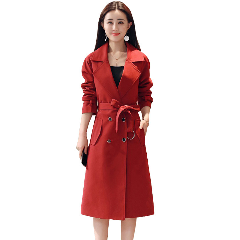 2018 New Spring Coat Women Slim Overcoat Medium-long Vintage Outerwears Sashes Female Casual   Trench   Coat Plus size M-4XL S57