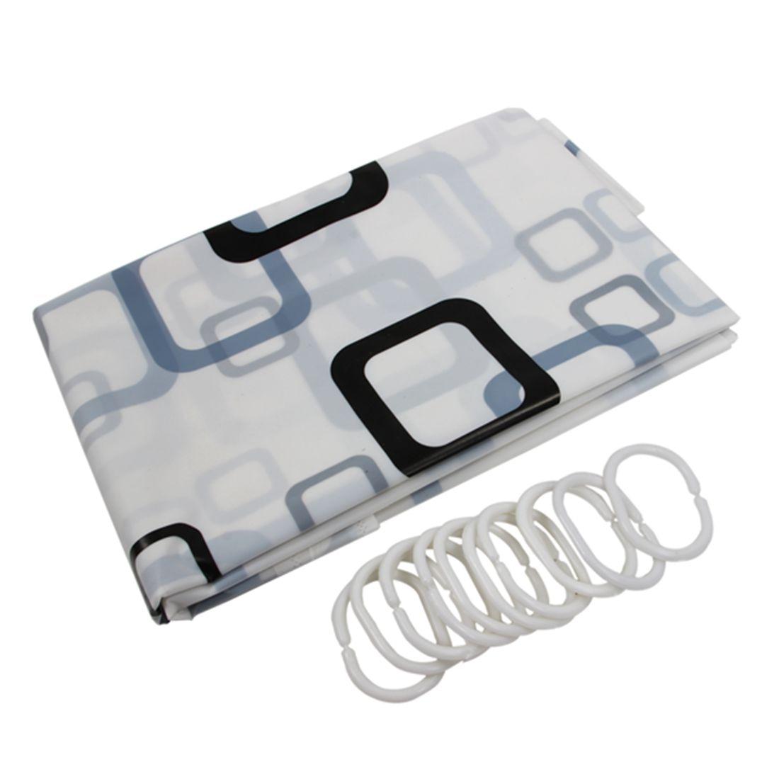 180cm x 180 cm Black White Square Bathroom Waterproof Fabric Bath Shower Curtain