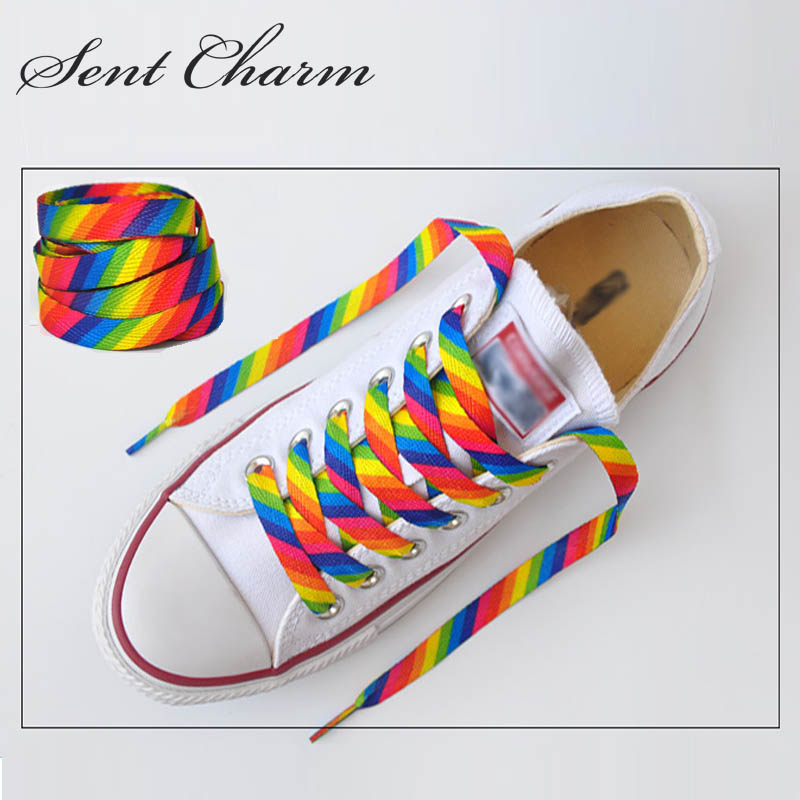 SENTCHARM 1pair New Style Rainbow Colorful Flat Shoelaces Fashion Shoestrings For Casual Shoes