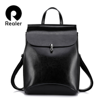REALER Brand High Quality Cow Split Leather Women Backpack Vintage Backpack For Teenage Girls Casual Bags