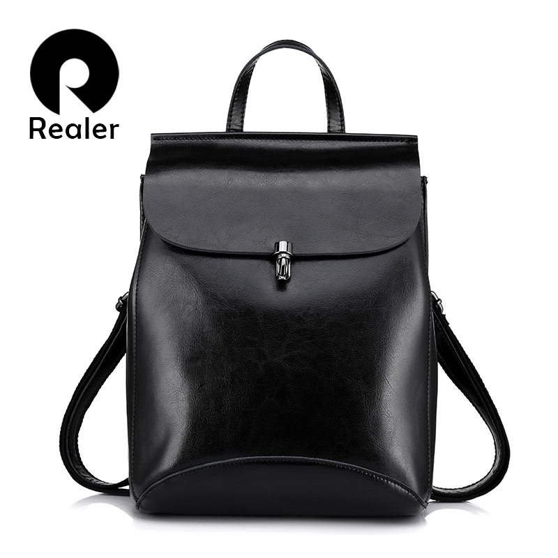 REALER women backpacks cow split leather vintage backpack for teenage girls casual bags female shoulder bags mochila schoolbag