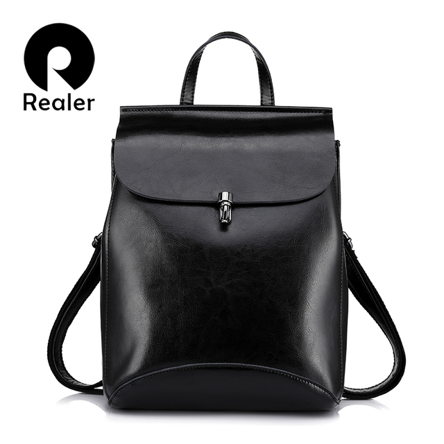 REALER women backpacks cow split leather vintage backpack for ...