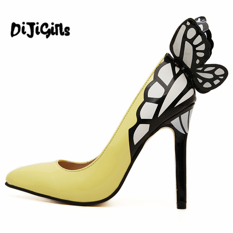 2017 Europe and the United States vampire diaries female butterfly wings pointed high-heeled shoes black yellow top 35-41 size europe and the united states 2015 new spring shoes and high heeled shoes asakuchi pointy suede 35 41 code