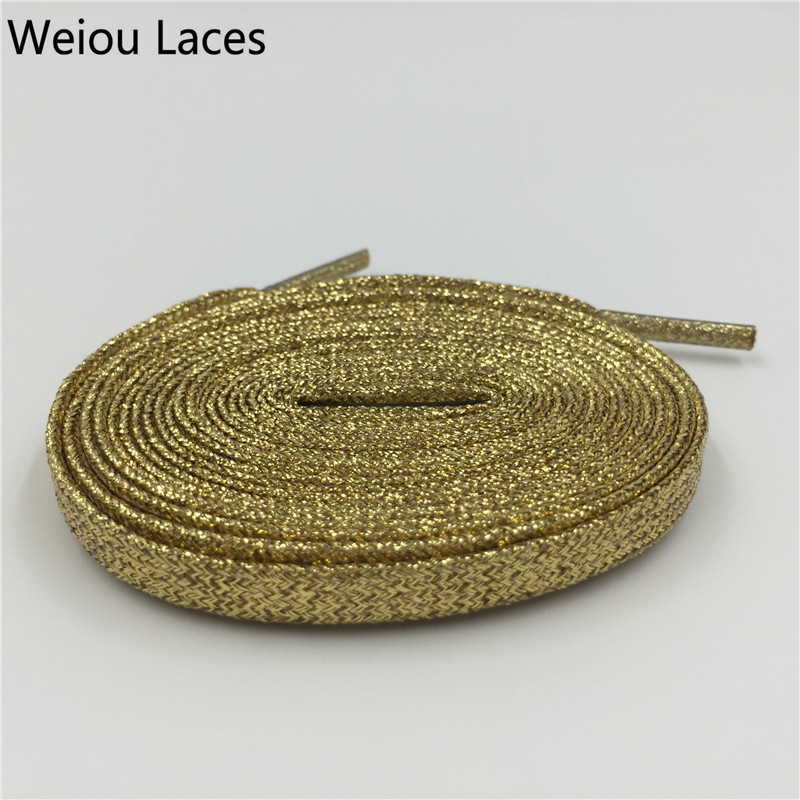 Weiou Fashion Metallic Glitter Gold Shoelaces Unique Sparkle Flat Shoe Laces String For Sneaker Sport Dress Shoe Boots Running suede