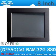 4G RAM 32G SSD Intel Atom D2550 8″ All In One Industrial PC Touch Screen Embedded Monitor