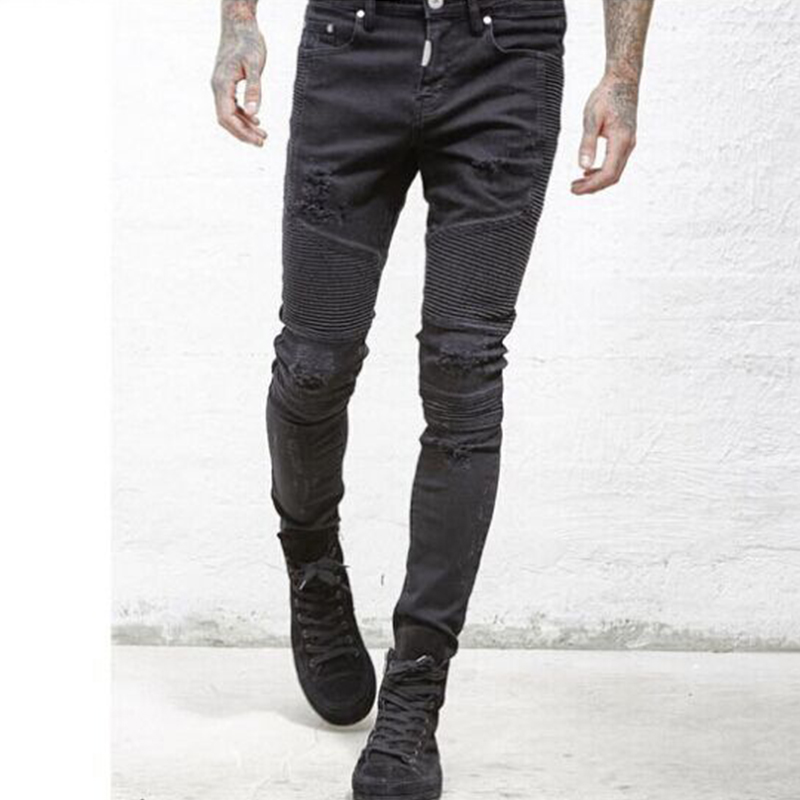 Fashion Men Jeans Brand Straight Fit Ripped Jeans Designer Cotton Hole Washed Distressed Denim Jeans Homme Long Pants Trouser fashion men s ripped jeans acid washed vintage teared torn straight fit distressed denim pants with holes