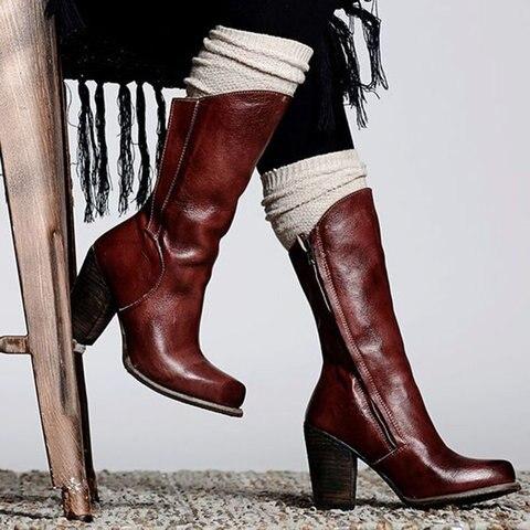 Botas de cuero de la vendimia más tamaño botas de tacón alto botas de cremallera botas de tacón otoño zapatos mujer DB011